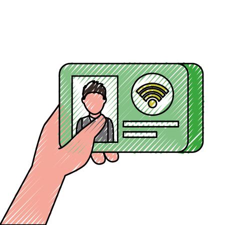hand holding id card wifi technology credit vector illustration Illusztráció