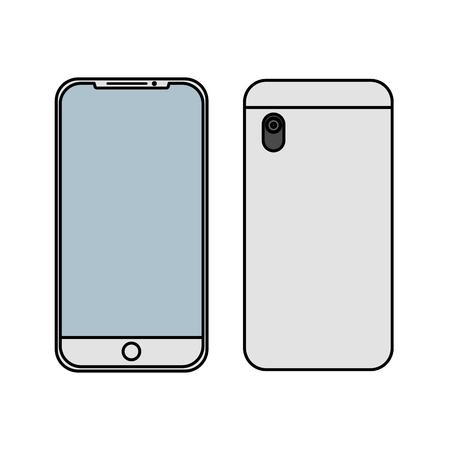 smartphone gadget didigtal voor- en achterkant bekijken ontwerp vectorillustratie Stock Illustratie