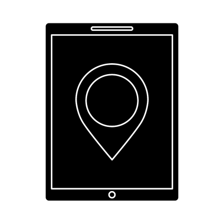 デバイス技術タブレット コンピューター ピン マップ ナビゲーション ベクトル図