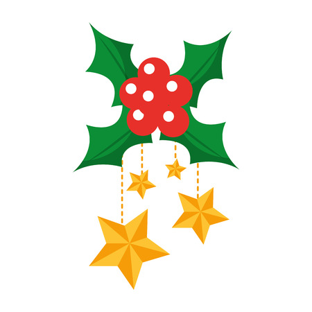 holly berries with dangling stars christmas related icon image vector illustration design