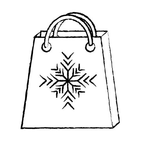 Einkaufstasche mit Schneeflockenikonenbildvektorillustrationsdesignschwarz-Skizzenlinie Standard-Bild - 90161787