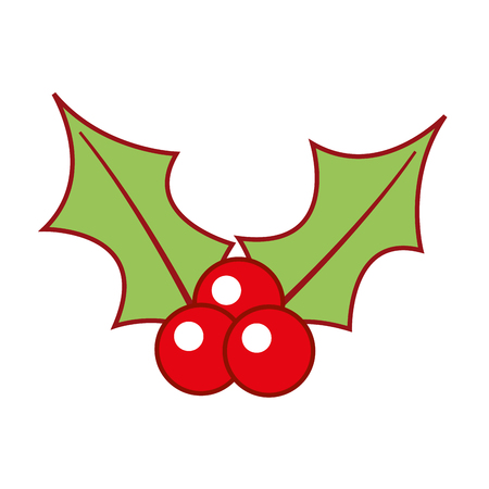 クリスマス ベリーひいらぎの葉とフルーツ デコレーション ベクトル イラスト