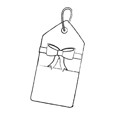 blank tag with bow icon image vector illustration design  black sketch line