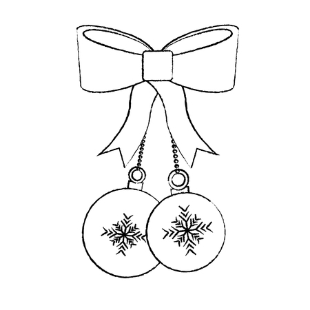 christmas balls with bow decoration season vector illustration Illustration