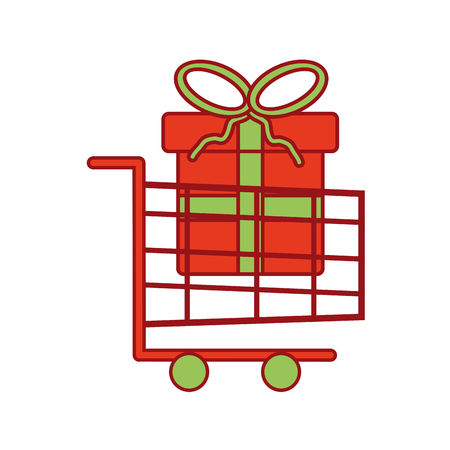 shopping cart with present box big sale christmas vector illustration