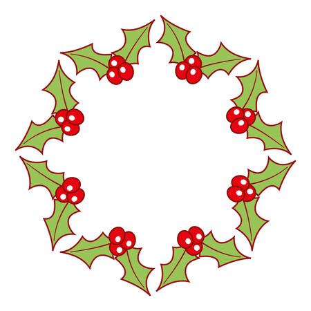 christmas wreath holly berries decoration festive vector illustration 向量圖像