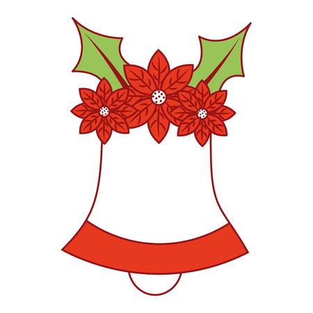 Christmas bell with flower poinsettia decoration traditional vector illustration Ilustrace