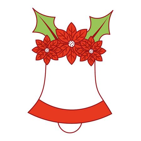 Christmas bell with flower poinsettia decoration traditional vector illustration Illusztráció