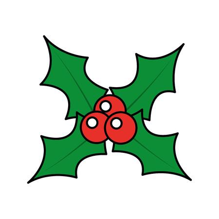 De hulstbladeren van de Kerstmisbes en de vectorillustratie van de fruitdecoratie
