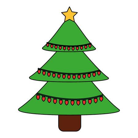Green christmas tree decoration traditional holiday vector illustration Illustration