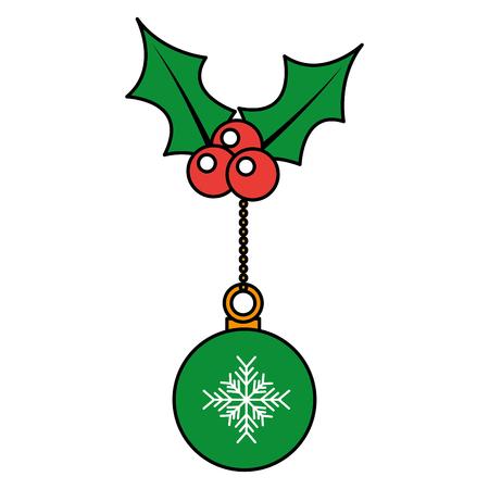 雪の結晶、ヒイラギ ベリー装飾ベクトル図でクリスマス ボール