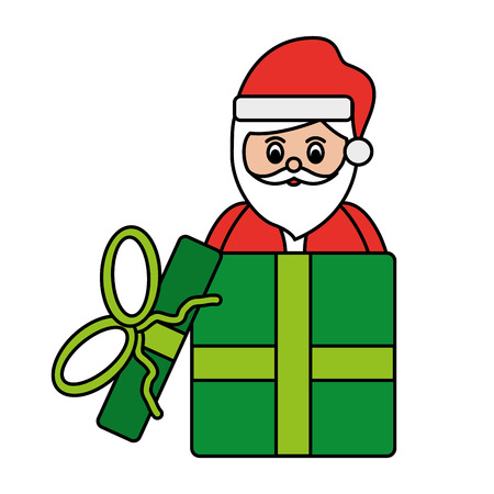 Santa claus in box for gift christmas surprise vector illustration