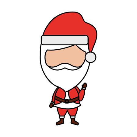 Funny santa claus character gorgeous beard celebrating merry christmas vector illustration Ilustração
