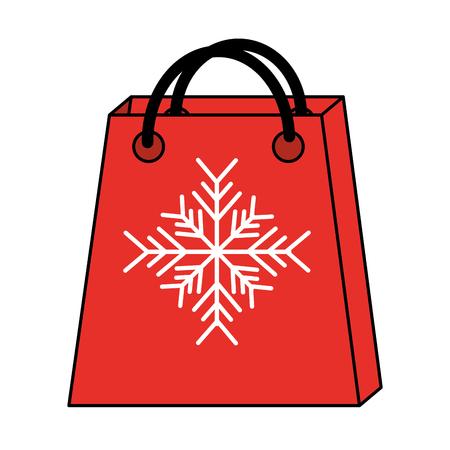 Sacchetto della spesa con progettazione dell'illustrazione di vettore di immagine dell'icona del fiocco di neve Archivio Fotografico - 90148513