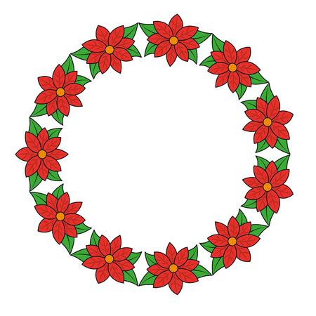 Poinsettia wreath christmas related icon image vector illustration design