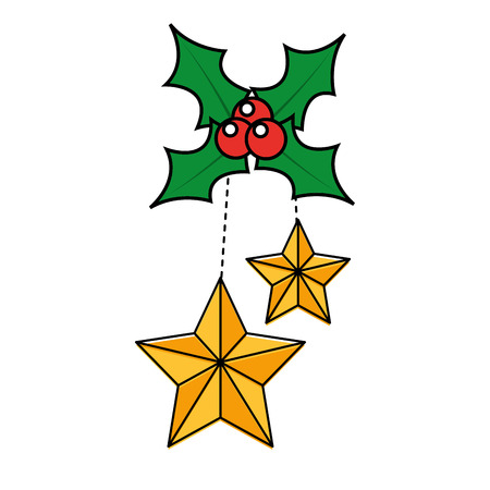 Christmas holly berries with dangling stars christmas related icon image vector illustration design