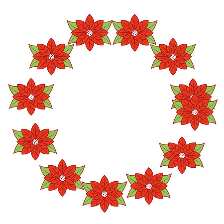 christmas wreath poinsettia and leaves plant celebration vector illustration