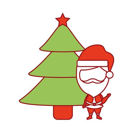 Dessin animé mignon père Noël décorer illustration vectorielle de sapin de Noël Banque d'images - 90162019