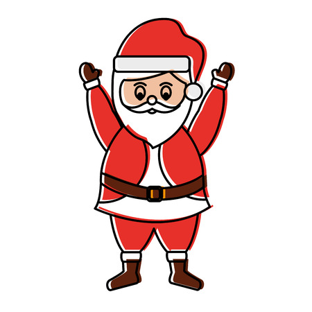 santa claus with hands up christmas related icon image vector illustration design