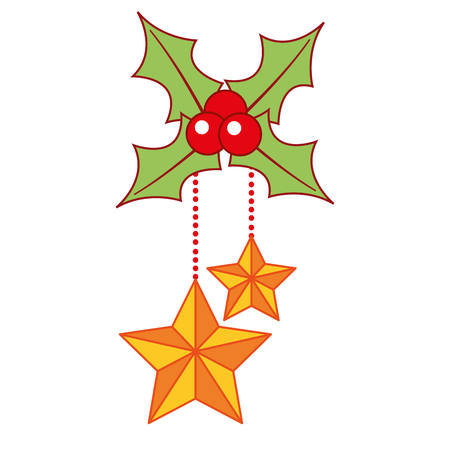 christmas ornaments with gold stars hanging and evergreen vector illustration Illustration