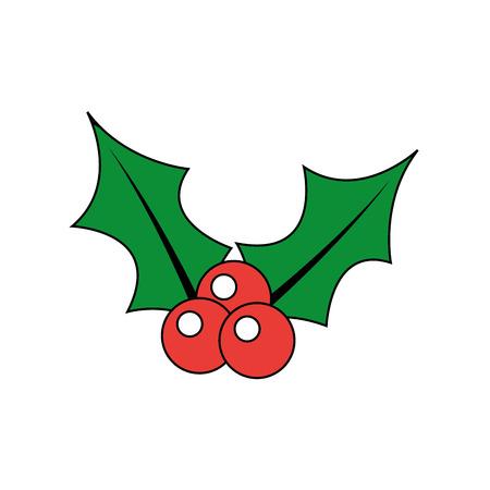 Kerst bessen holly verlaat en fruit decoratie vector illustratie