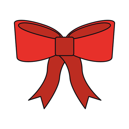 christmas red bow decoration ornament design vector illustration