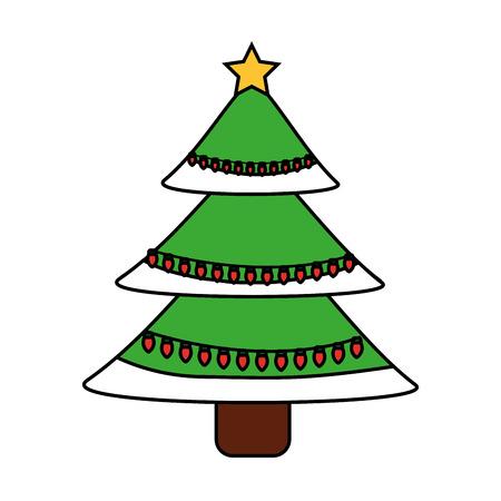 green christmas tree decoration traditional holiday vector illustration