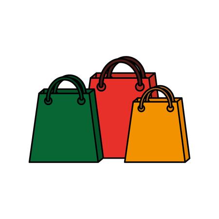 set of empty christmas paper shopping bag vector illustration