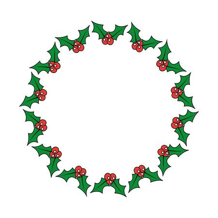 christmas wreath holly berries decoration festive vector illustration Vettoriali
