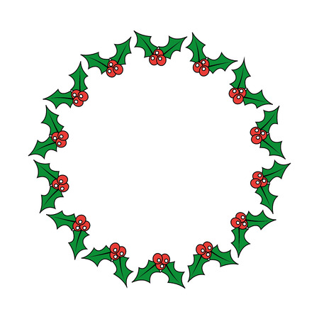 christmas wreath holly berries decoration festive vector illustration Stock Illustratie