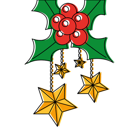 holly berries with dangling stars christmas related icon image vector illustration design Stock Vector - 90162276