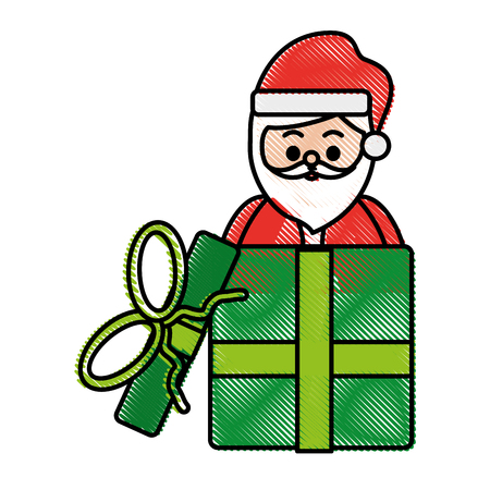 santa claus coming out of gift box  christmas related icon image vector illustration design