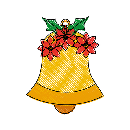 bell with poinsettia christmas related icon image vector illustration design