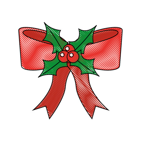 christmas decoration bow evergreen berries vector illustration