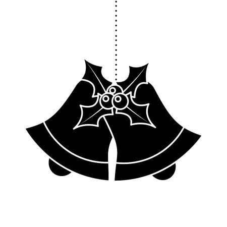bells evergreen christmas decoration hanging vector illustration Ilustrace
