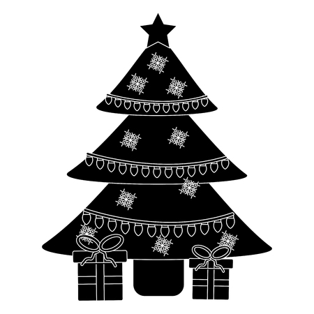 christmas with decorated tree and gift boxes for holiday vector illustration
