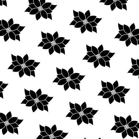 christmas poinsettia and leaves seamless pattern image vector illustration