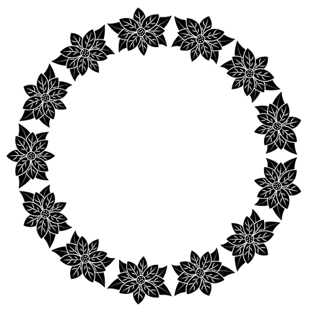 christmas wreath poinsettia and leaves plant celebration vector illustration Stock fotó - 90163499