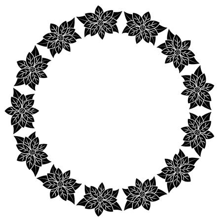 Kerst krans poinsettia en bladeren plant viering vector illustratie