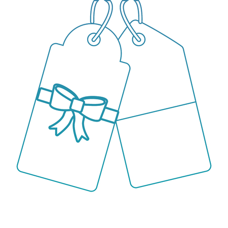 christmas price tag with bow and hanger sale promotion and gift card vector illustration
