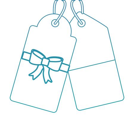 Kerstmis prijskaartje met boog en hanger verkoop promotie en geschenk kaart vectorillustratie