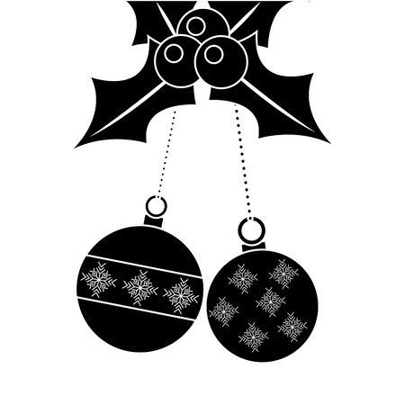 christmas balls evergreen decorative elements vector illustration