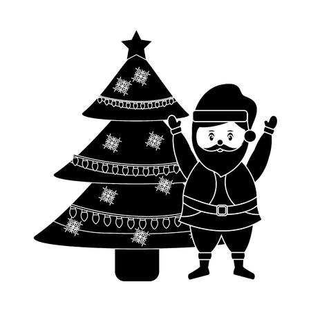 cute cartoon santa claus decorating christmas tree Illustration