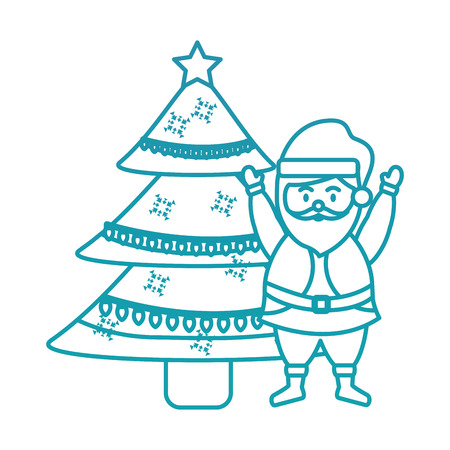 santa claus with tree christmas related icon image vector illustration design