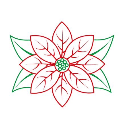 ポインセチア花クリスマス関連のアイコン画像ベクトル イラスト デザインの緑と赤のライン
