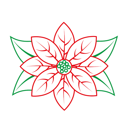 poinsettia flower christmas related icon image vector illustration design  green and red line Illustration