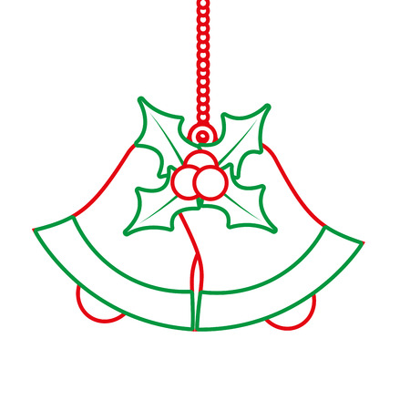bells with holly berries christmas related icon image vector illustration design  green and red line