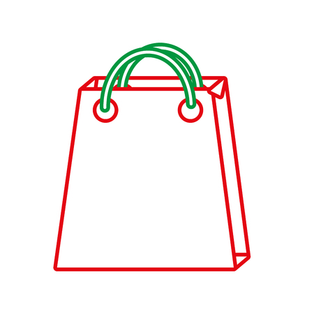 shopping bag christmas related icon image vector illustration design  green and red line