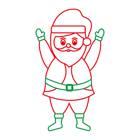 santa claus with hands up christmas related icon image vector illustration design  green and red line
