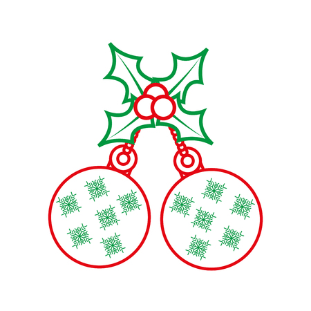 holly berries with dangling balls christmas related icon image vector illustration design  green and red line Stock Vector - 90163739